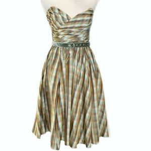 BETSEY JOHNSON Plaid Strapless Fit & Flare Dress